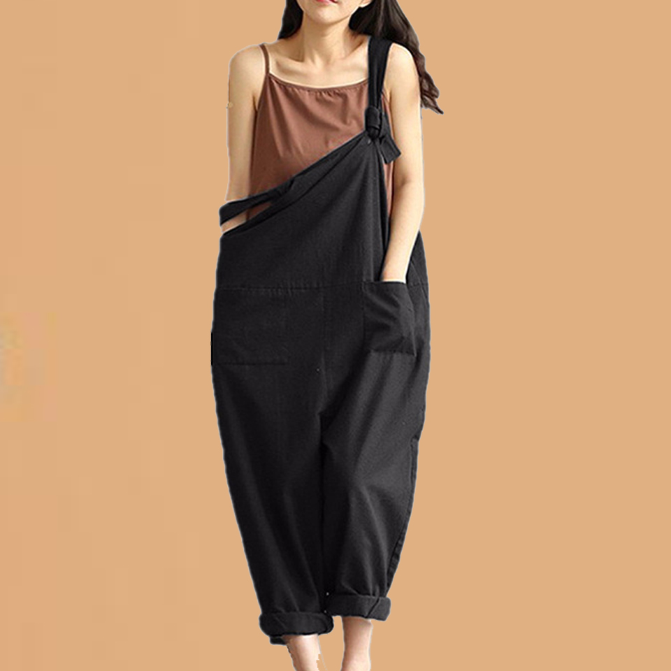 Plus Size Jumpsuits <font><b>5xl</b></font> Hip Hop Overalls Women Oberoles Para <font><b>Mujer</b></font> Sleeveless <font><b>Sexy</b></font> Wide Leg Jumpsuit Streetwear Suspender Pants image