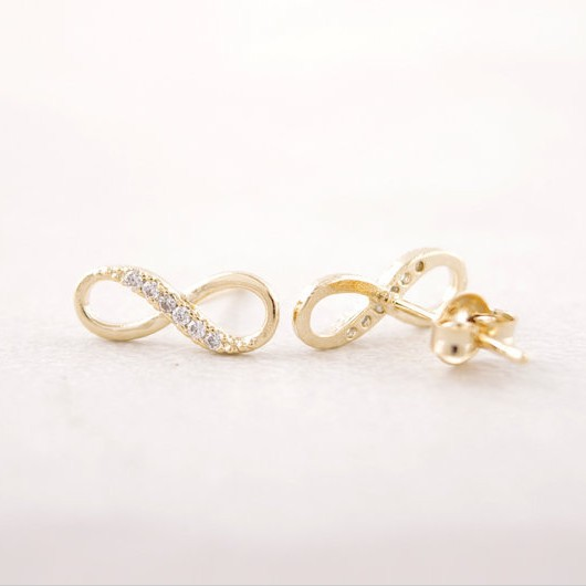 Fashion Zircon Infinity Symbol Stud Earrings Whole Free Shipping