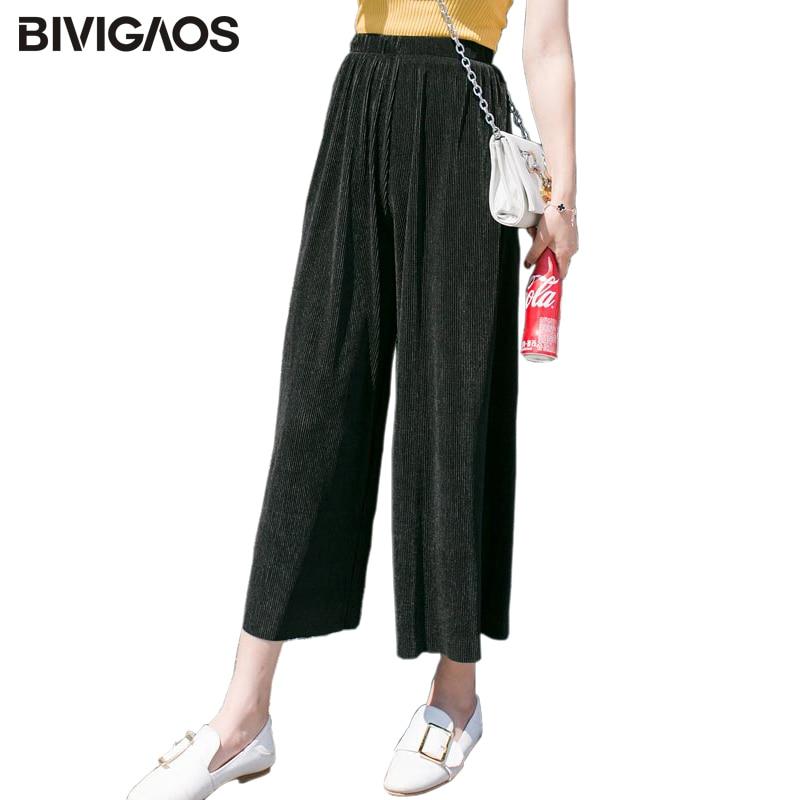 1c4b9441e2 BIVIGAOS 2017 verano plisado chifón pierna ancha pantalones mujeres hilo  Vertical elástico cintura alta recortada Casual pantalones sueltos  primavera en ...