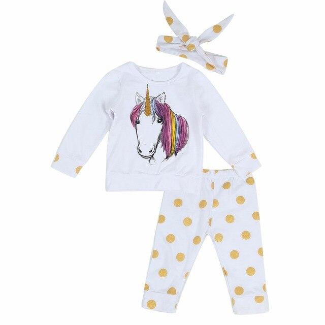 7c6d86ce1eacf Puseky Babies 3PCS Unicorn Clothing Set Newborn Baby Boy Girl Kid Unicorns  Polka Dots Outfit Clothes