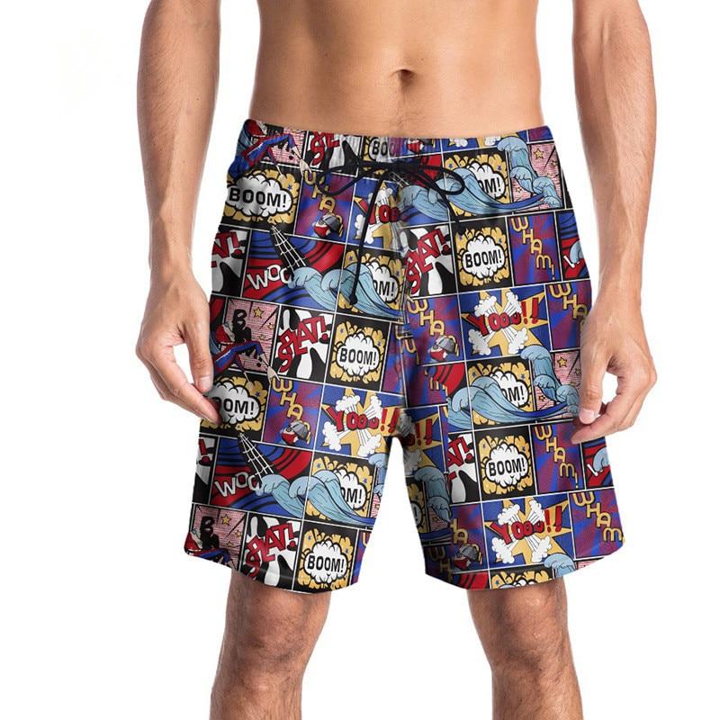 USA SIZE High quality Quick Dry Mens   Board     Shorts   Cartoon Printed   Shorts   Vacation   Shorts   Fashion Summer fifth pants New