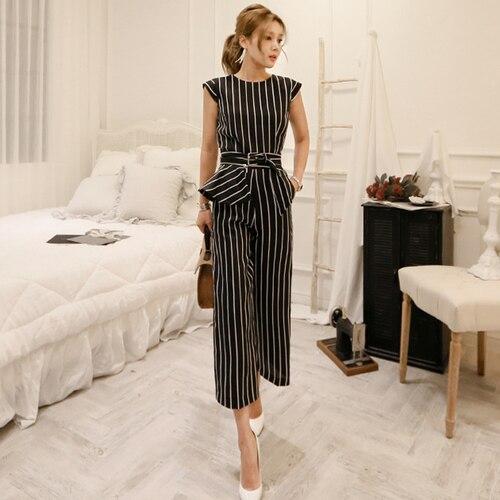 2018 Korean Summer Temperament Sleeveless Two Piece Set Stripe Fashion Wide Legging 2 Piece Set Women 1