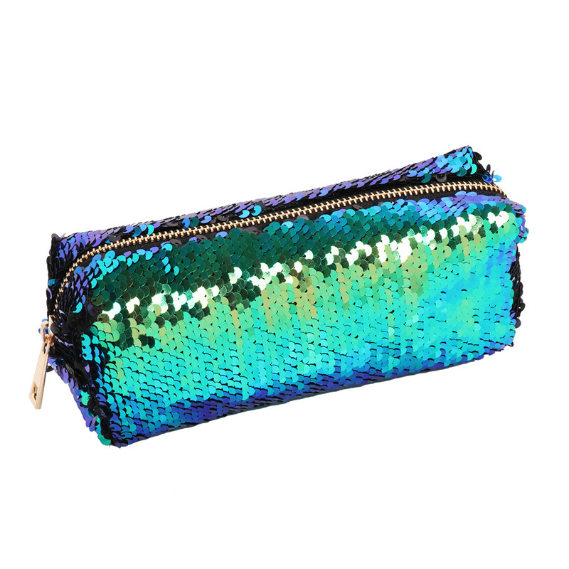 Ladies Shiny Mini Bag Cosmetic Bag Mermaid Sequin Glitter Handbag DIY Reversible Double Color Sparkling Students Pencil Pouch