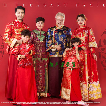 6 Piece Set Home is Everything Vintage Red Traditional Tang Suit Family Gathering Picture Parent-Child Costume Hanfu Sets