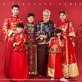 6 unidades del hogar es todo rojo Vintage tradicional juego de la espiga reunión familiar imagen entre padres e hijos Hanfu traje conjuntos