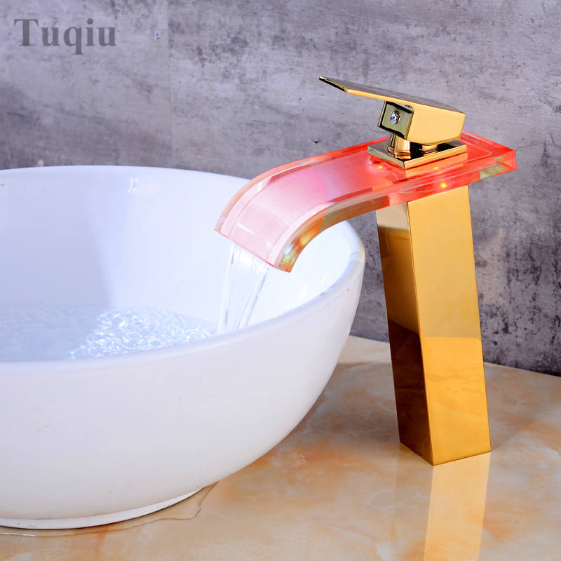 New style color changing LED Basin Faucet Bathroom Brass Waterfall Faucet Basin Faucet Sink Mixer Sink Tap Led Faucet цена