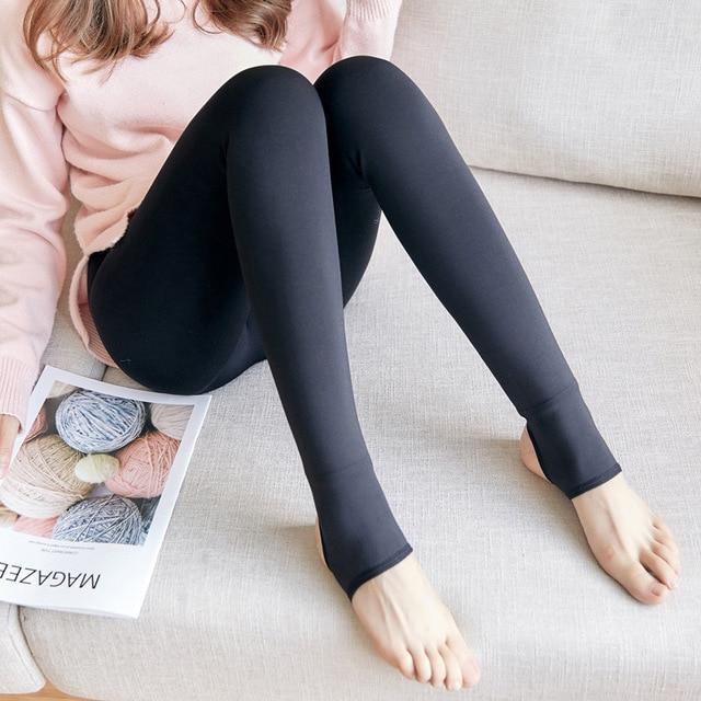Zuolunouba 2018 Autumn Fashion Solid Color Thin Section Plus Velvet Leggings Female Elastic High Waist Casual Leggings