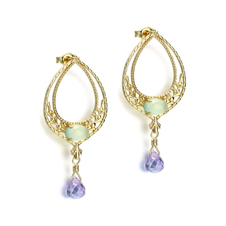 Boucles d'oreilles en or 14K simples boucles d'oreilles en forme de goutte de diamant boucles d'oreilles Huggie boucles d'oreilles pour femmes filles