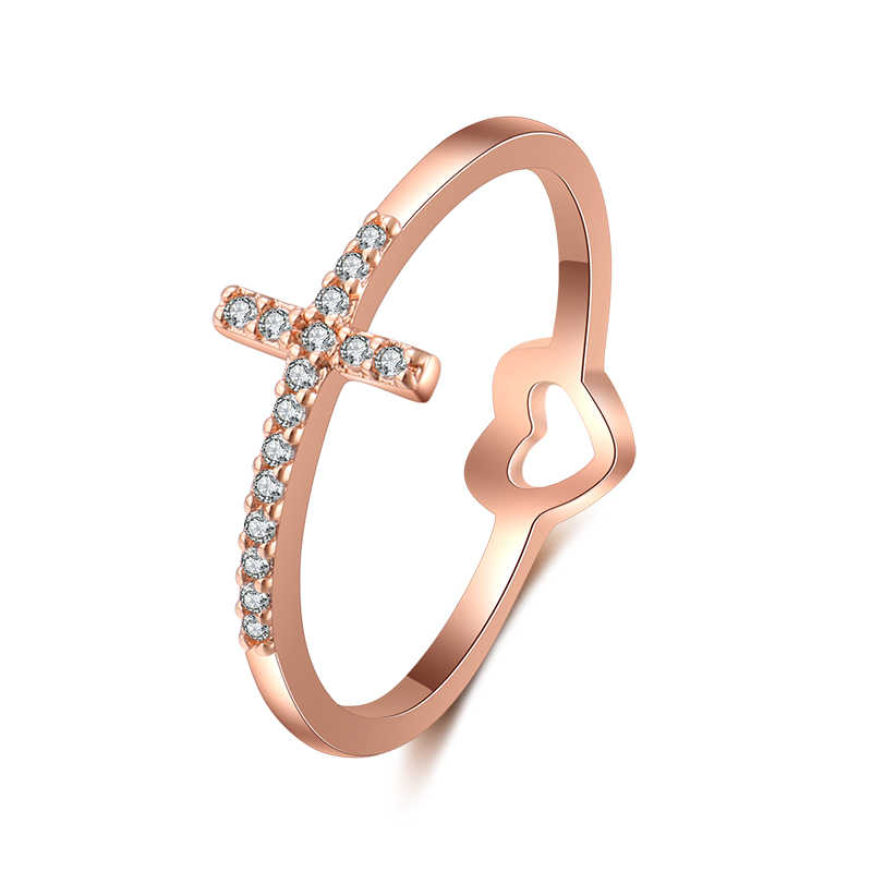 New Fashion Rose Gold Color Cross & Heart Shaped Cubic Zirconia Rings for Women Wedding Jewelry Drop shipping CR2096E
