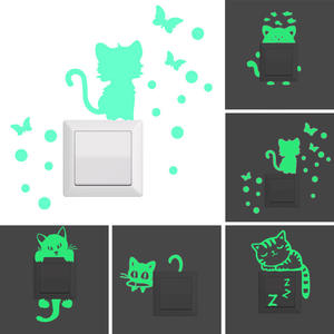 Switch-Stickers Fluorescent Annimals Bedroom Home-Decor Glow-In-The-Dark Cartoon Cute
