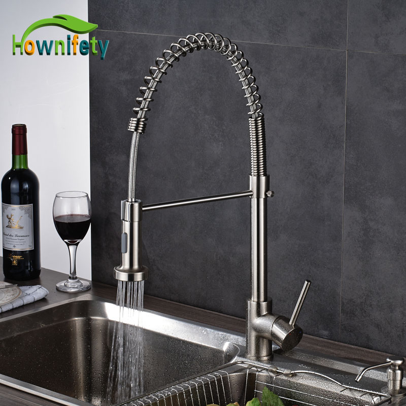 Kitchen Faucet Single Handle Swivel Mixer Tap Nickel Brushed Hot And Cold Water Kitchen Sink Faucet new pull out sprayer kitchen faucet swivel spout vessel sink mixer tap single handle hole hot and cold