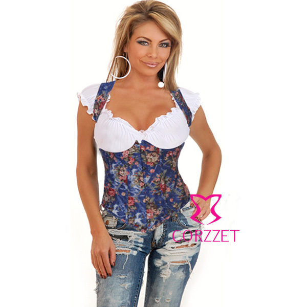 2793 Waist Trainer Corselet black blue denim floral print underbust boned halter   corset   with strap women   bustiers   and   corsets