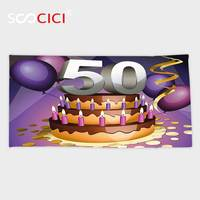 Custom Microfiber Ultra Soft Bath/hand Towel,50th Birthday Decorations Creamy Cake with Many Candles and Numbers Balloons