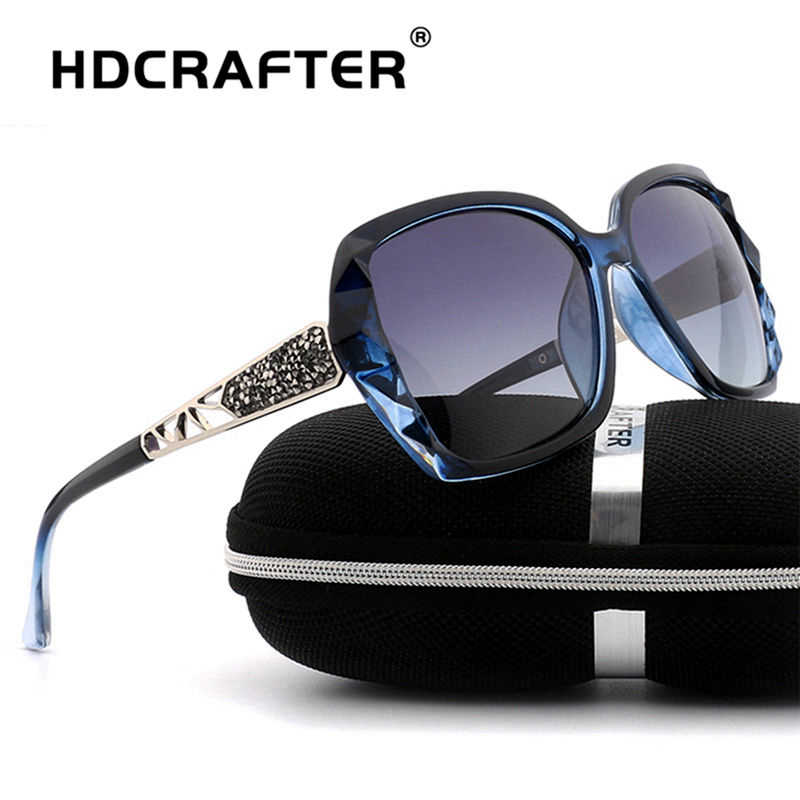 08cfbf86dc4e HDCRAFTER Luxury Brand Design Rhinestone Polarized Sunglasses Women Lady  Elegant Big Sun Glasses Female Eyewear