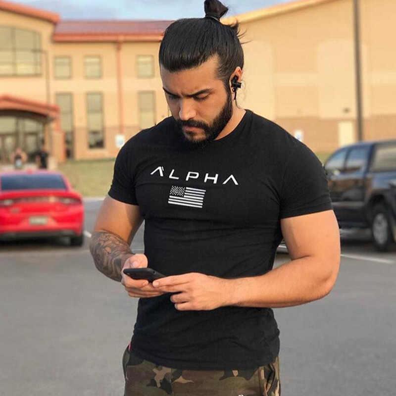 Męskie bawełniane koszulki z krótkim rękawem w stylu casual, czarny T-shirt z nadrukiem siłownia kulturystyka koszulki treningowe topy męskie letnie ubrania marki