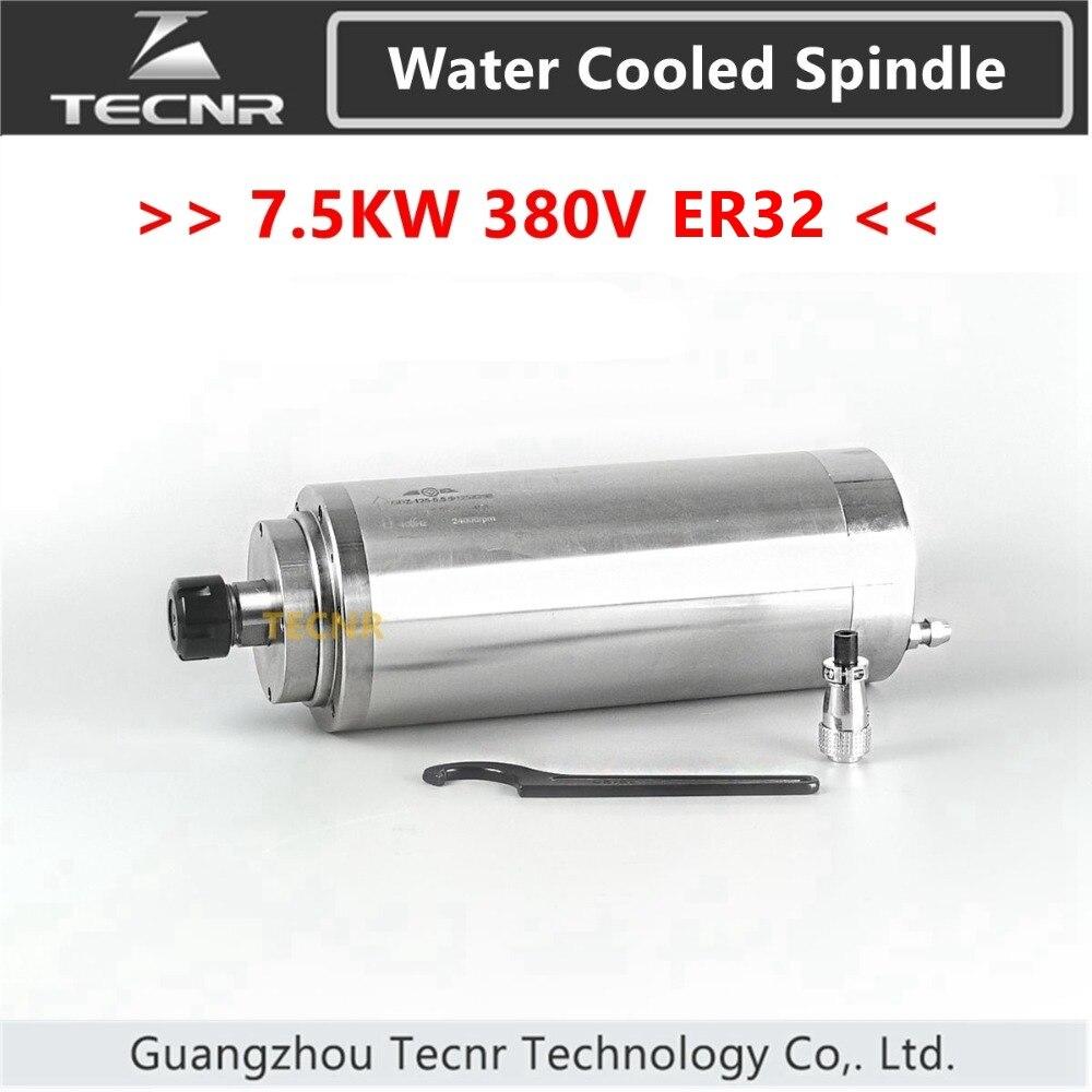 TECNR 7.5KW moteur de broche refroidi à l'eau 380 V 125 MM diamètre ER32 roulement en céramique pour machine de gravure et de découpe de CNC