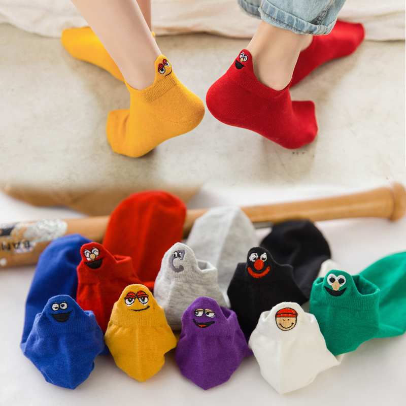 Kawaii Embroidered Expression Candy Color Woman   Socks   Happy Fashion Girls Ankle Funny   Socks   Women Cotton Summer 1 Pair