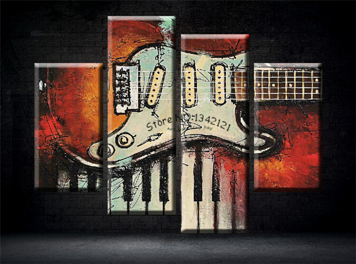 4 Panel Music ArtWall Painting Modern Home Decors   Guitar Pop Art Pictures Decoration On Canvas Painting Printed