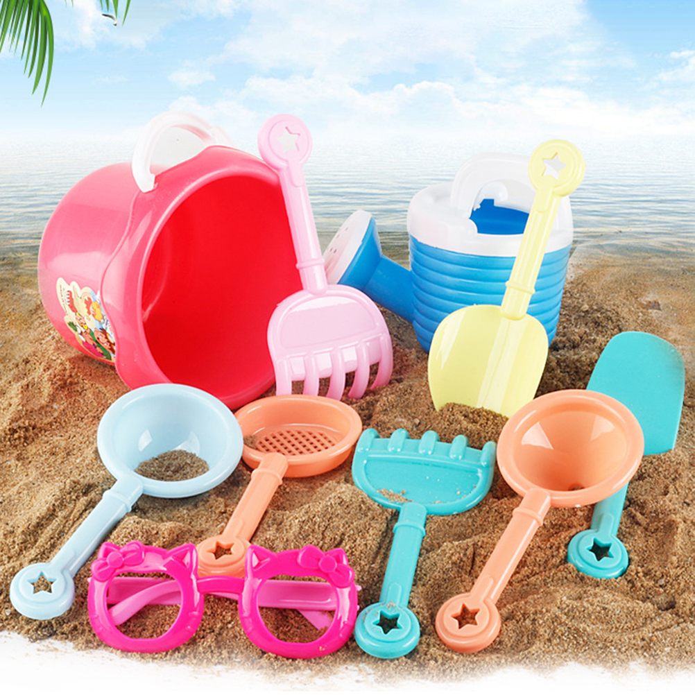 Kids Outdoor Toys 9Pcs Random Kids Beach Sand Toys Set Molds Beach Bucket Beach Shovel Tool Kit Sandbox Children Outdoor Toys
