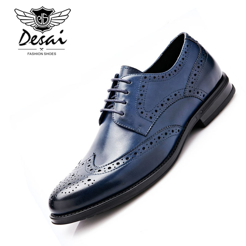 Desai Brand Genuine Leather Shoes Man Lace Up Pointed Toe Brogue Shoes  Fashion British Style Wedding Shoes for Men Size 38-43 af7fa9ebcb97