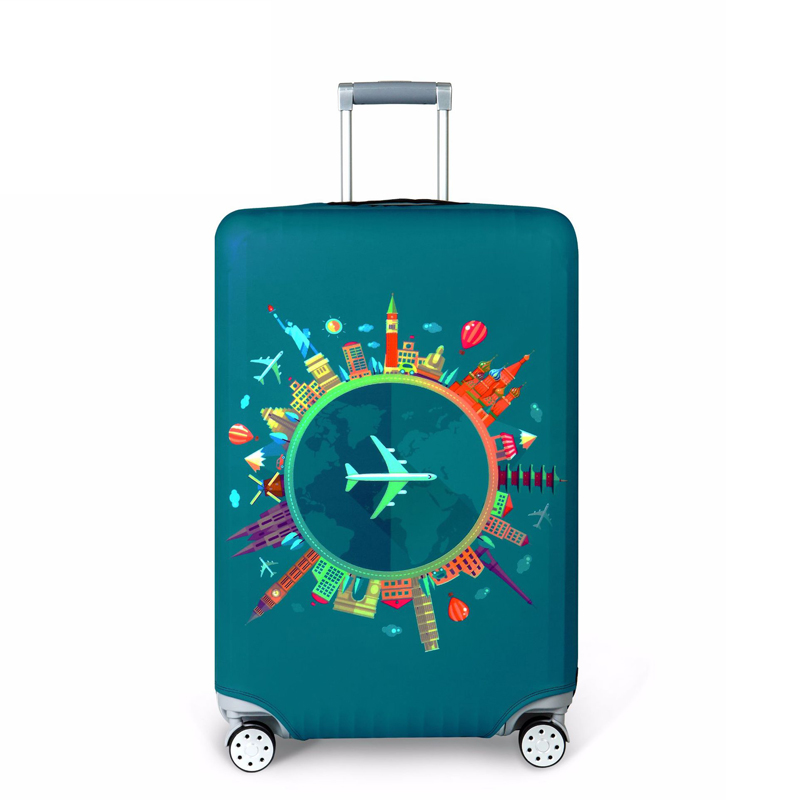 Travel Luggage Cover Spandex Suitcase Protector Bag Washable Zipper Baggage Covers Flowers Wave Point Wallpaper Fits 18 To 32 Inch