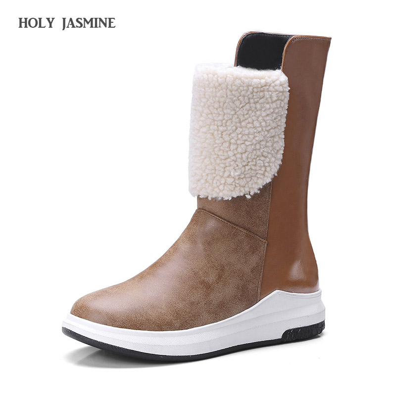 2018 Winter New Slip-On Women boots flat winter shoes plush waterproof non-slip women ankle boots warm snow boots size 34-43 2015 new arrival fashion women winter snow boots warm ladies shoes bowtie slip on soft cute shoes purple color sweet boots