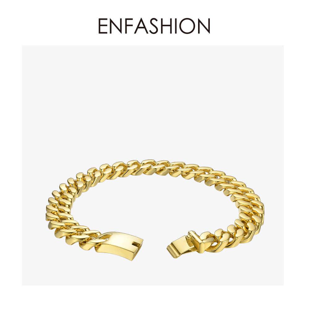 Enfashion Big Strong Link Chain Chokers naszyjnik kobiety złoty kolor stal nierdzewna kreatywne naszyjniki Ketting mężczyzn biżuteria PM3014