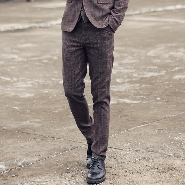 new 2017 wedding dress men's boutique cotton fashion checked suit pants / Male social business formally grid suit pants trousers