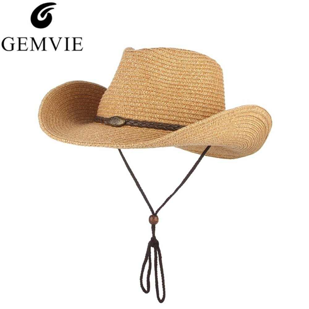514f31fb576d3 Western Cowboy Hat For Men Women Wide Brim Straw Hat Beach Sun Cap Panama Jazz  Caps
