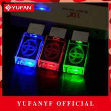 YUFANYF 2017 pendrive 3 colors Red / blue / green LED Toyota car LOGO USB falsh drive 4GB 8GB 16GB 32GB U Disk crystal gift