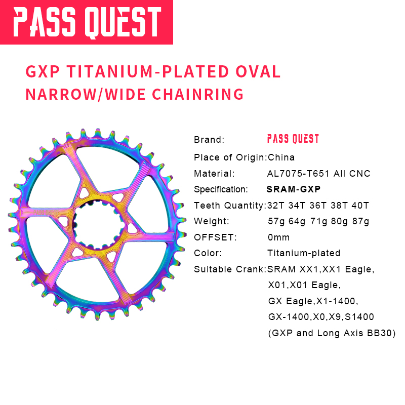 2019 NEW eagle GXP Titanium plated Oval MTB Narrow Wide Chainring 32T/34T/36T 40T Bike Chainwheel 0mm Offset Crankset-in Bicycle Crank & Chainwheel from Sports & Entertainment    3
