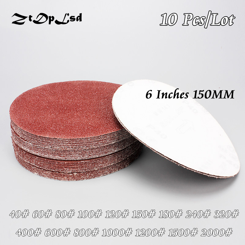 ZtDpLsd 10Pcs/lot Dry Grinding 6 Inches 150MM Paper Flocking Sandpaper Pad Sanding Disc Woodworking Electric Grinder Accessories
