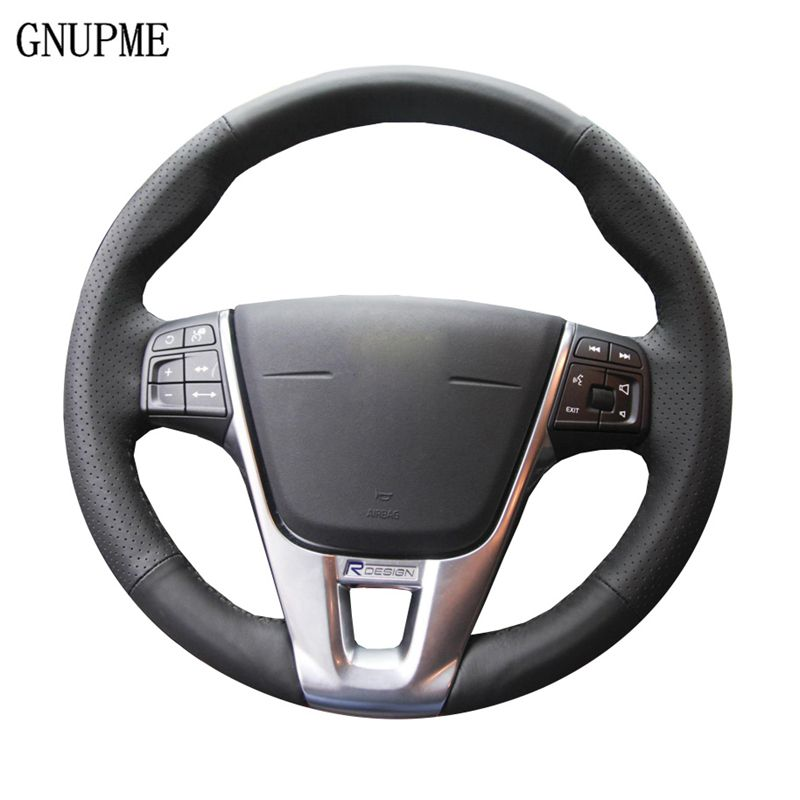 GNUPME Black Genuine Leather Car Steering Wheel Cover for Volvo V40XC60S60LV60S80L Special hand-stitched Steering Covers