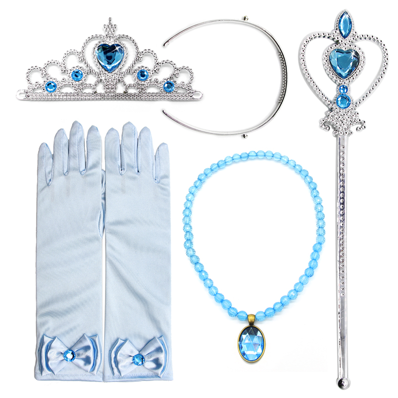 5Pcs/set 4 Styles Elsa Anna Cosplay toy Princess Accessories CrownGloves Braid Wig Magic Wand FigureToys Girl PlayChristmas gift anna elsa cosplay wig ponytail for