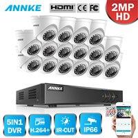 ANNKE 1080P 16CH H.264 CCTV Camera DVR System 16pcs Waterproof 2.0MP HD TVI White Dome Cameras Home Video Surveillance Kit