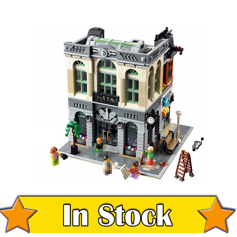 LEPIN 15001 Brick Bank Street View Creator Building Blocks Bricks DIY Toys For Boys oyuncak Compatible with legoINGly 10251 8 in 1 military ship building blocks toys for boys