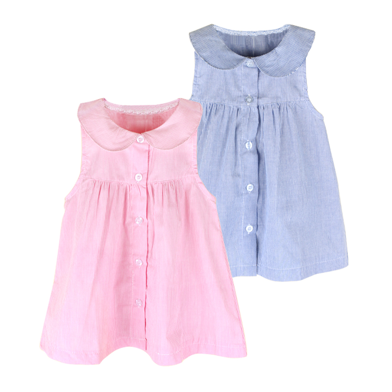 2017 Summer Fashion Baby Girls Shirt Dress Striped Cotton Sleeveless Baby Tutu Dress Pink Blue Cute Baby Girl Outfits Brand New new fashion suspender with sleeveless shirt suit for girl