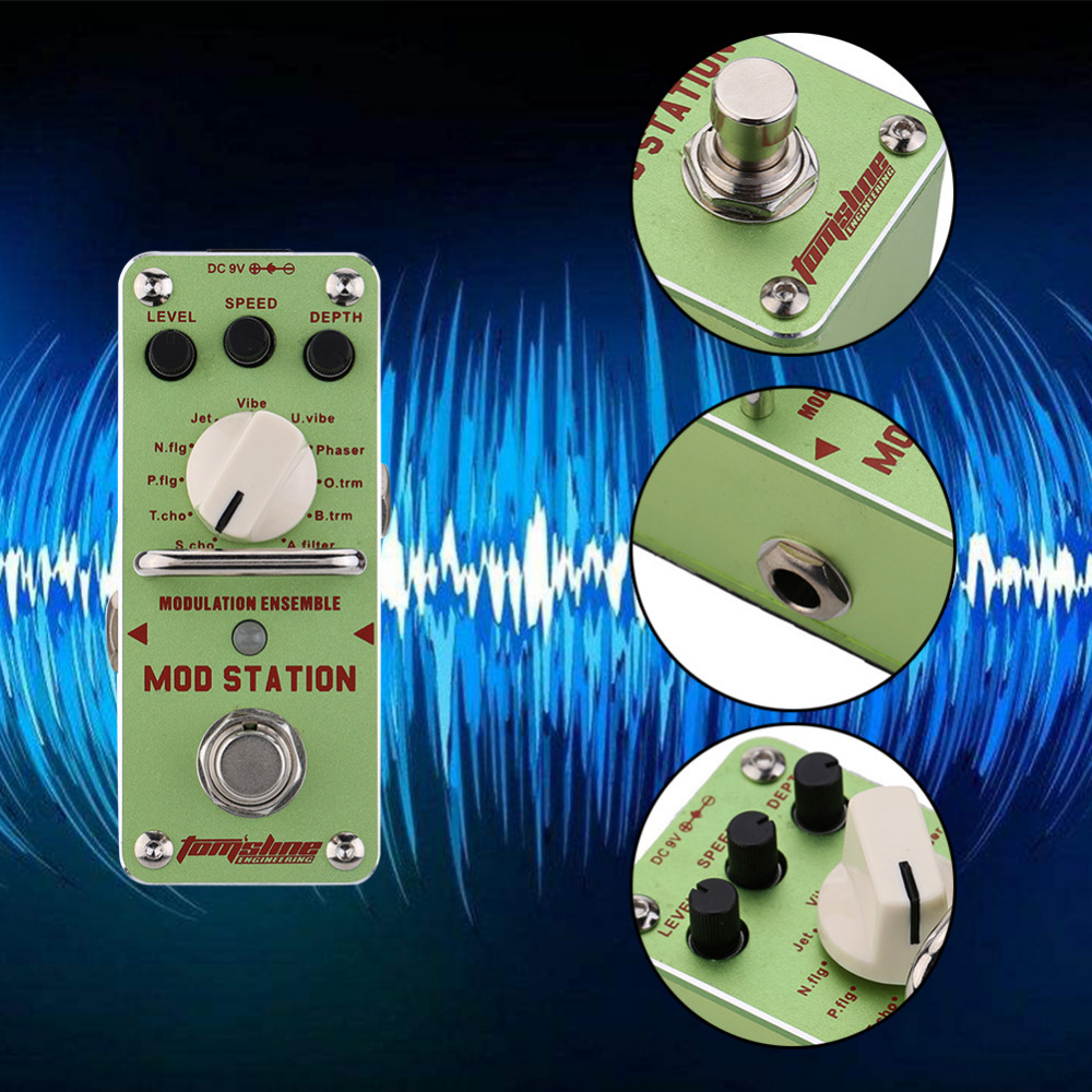 Guitar Part Tomsline AMS-3 Mod Station Modulation Ensemble Electric Guitar Effect Pedal Mini Single Effect With True Bypass hand made loop electric guitar effect pedal looper true bypass 3 looper switcher guitar pedal hr 1