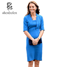Shenbolen 2017 Vestidos Feminino Kate Middleton Women Pencil Dress Sheath Half Sleeve Bodycon Elegant Ladies Office Dresses