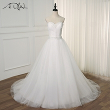 цены ADLN Elegant Princess Wedding Dresses White/ Ivory Pearls Sweetheart Sleeveless Pleats Ball Gowns Bridal Gowns Custom