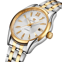 OUYAWEI Male Clock Luxury Gold Tone Case Auto Date Automatic Mechanical Wristwatch Stainless Steel Band Men's Business Watch
