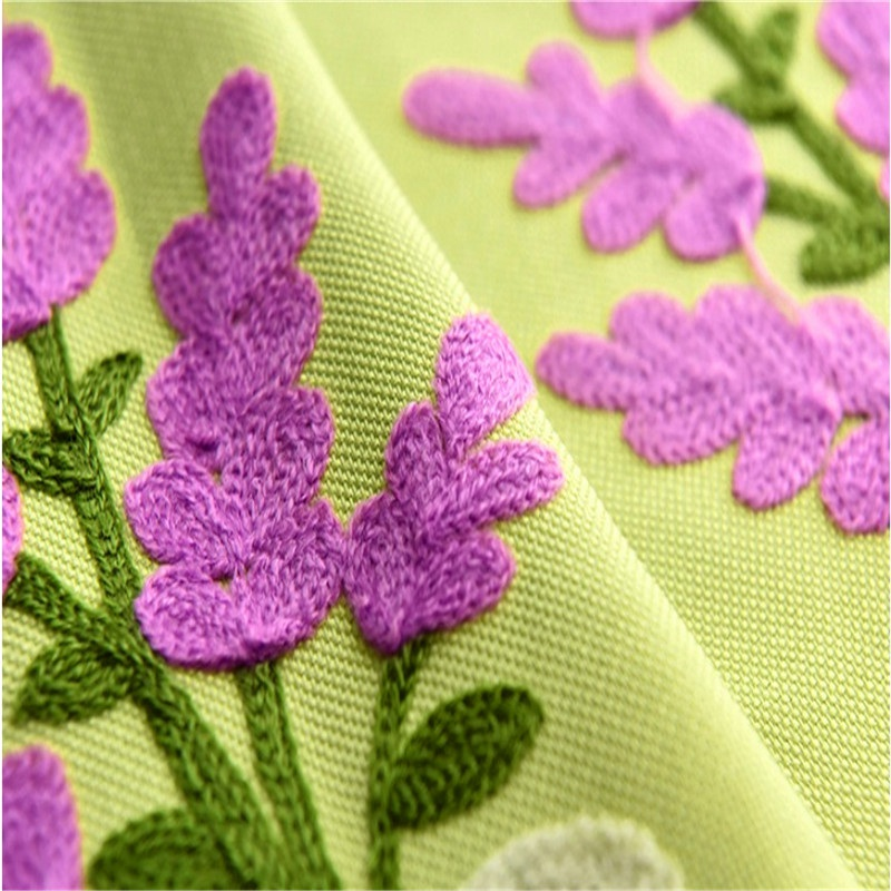 Lavender Contracted Rustic Embroidered Curtains Cloth Voile Tulles Valance Decorative Sitting Room Bedroom For Shade Su034 *20