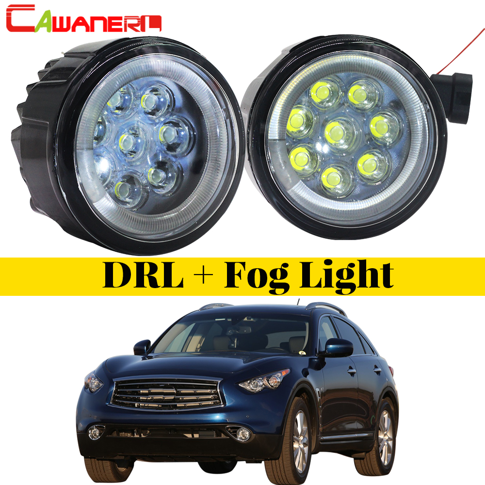 Cawanerl 2 X Car Styling LED Bulb Front Fog Light + Angel Eye 12V Accessories For Infiniti QX QX50 QX56 QX70 2006-2014 maxi toys модель автомобиля infiniti qx