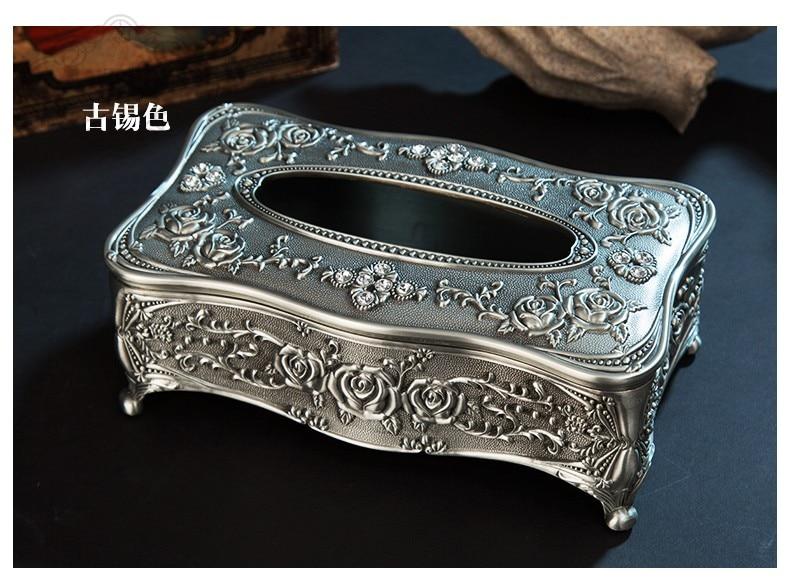 Высококачественная бронзовая металлическая коробка для ткани, ретро держатель для салфеток с цветком, тканевый контейнер для украшения дома ZJH007