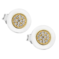 Authentic 925 Sterling Silver Signature Round Stud Earrings with 14K Gold and Clear CZ Compatible with Original Jewelry FLE097K