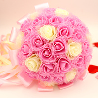 2016 Wedding Flowers/ Bridal Bouquets Pink Purple Red PE Material Artificial Rose Luxury Diamond Crystal Bouquet Bling Brides