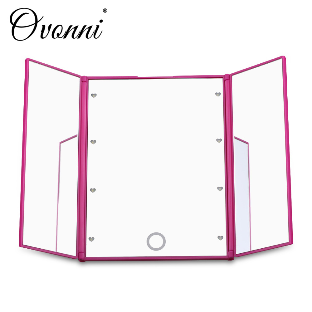 Ovonni Tri Fold Adjustable Led Lighted Travel Mirror 8 LEDs Touch Screen Make Up