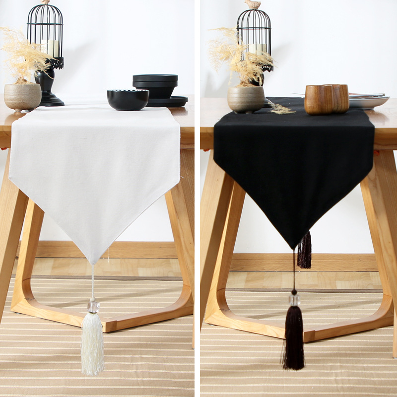 Solid Black/White Table Runners With Tassel Coffee Table Top Cover Home Hotel Tablecloth Modern Runners For Wedding Party Decor