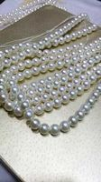 five strands 10 11MM freshwater natural round white pearl necklace 18 14k gold