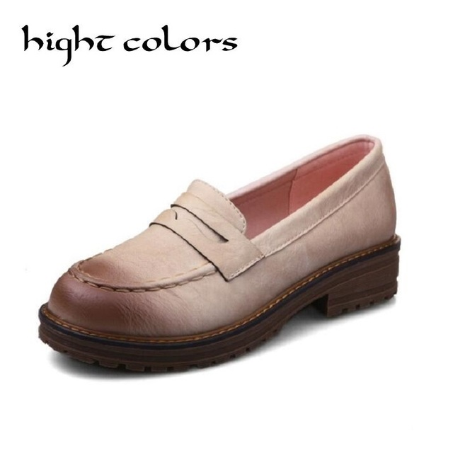 Retro wipe casual flat Shoes woman loafers spring fashion round toe slip on oxford shoes for women 6 Colors brogue women shoes